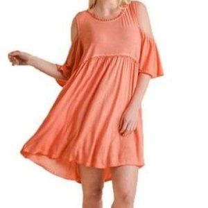Umgee Coral Cold Shoulder Embroidery Detail Dress